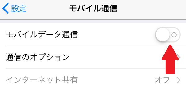 iPhone モバイルデータ通信