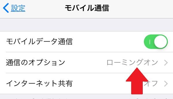 iPhone ローミング